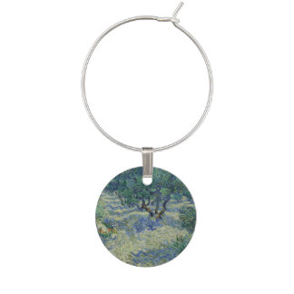 Olive Orchard by Vincent Van Gogh Wine Charms