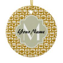Olive Owls Custom Monogram Ceramic Ornament