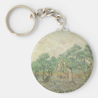 Olive Picking by Vincent van Gogh, Vintage Art Keychain