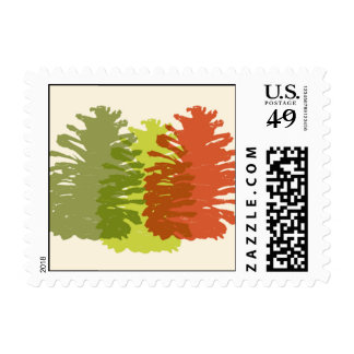 Olive Pinecones Postage Stamp