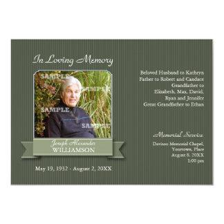 "Olive Pinstripe Banner Memorial Notice 4.5"" X 6.25"" Invitation Card"