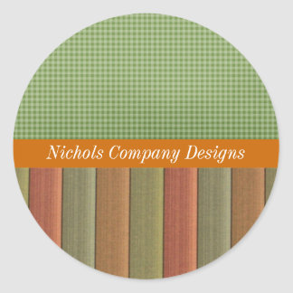 Olive Plaid and Stripes Business Stickers