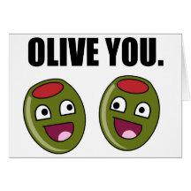 OLIVE PUN GREETING CARDS