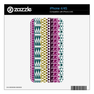 Olive Purple Teal Geo Aztec Tribal Print Pattern Decal For The iPhone 4S