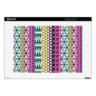 """Olive Purple Teal Geo Aztec Tribal Print Pattern Decals For 15"""" Laptops"""