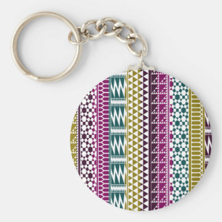 Olive Purple Teal Geo Aztec Tribal Print Pattern Keychain