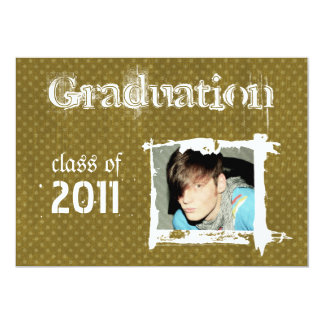 Olive Rad Grad Funky Dots Graduation Invitations