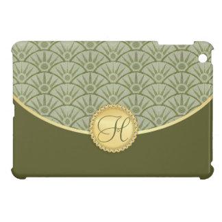 Olive Sage Green Gold Damask Pattern iPad Mini Cover