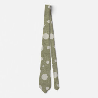Olive Scattered Spots on Stone Leather Texture Tie
