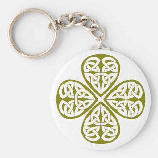 olive shamrock celtic knot basic round button keychain