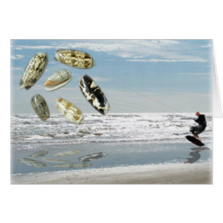 Olive Shells pulling boogie boarder Greeting Card