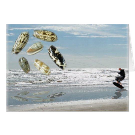 Olive Shells pulling boogie boarder Card
