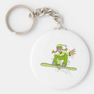 Olive Snowboard Girl Basic Round Button Keychain
