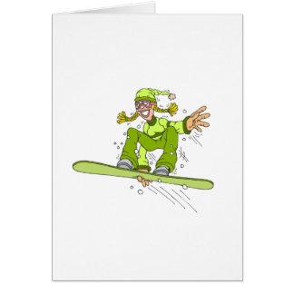 Olive Snowboard Girl Card