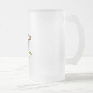 Olive Snowboard Girl Frosted Glass Beer Mug