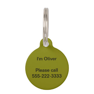 Olive Solid Color Pet Tag
