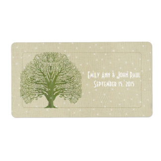 Olive Swirl Tree on Wood Grain Stars Save the Date Shipping Labels