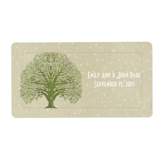 Olive Swirl Tree on Wood Grain Stars Save the Date Label