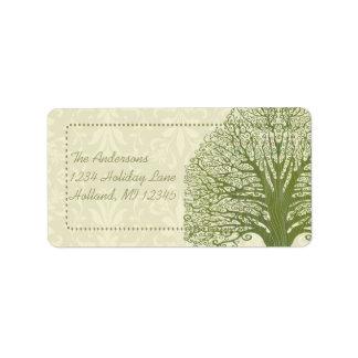 Olive Swirl Whimsical Tree Return Address Labels