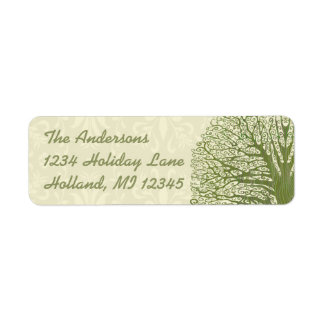 Olive Swirl Whimsical Tree Return Address Labels
