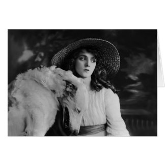 Olive Thomas With Laughing Dog. Card