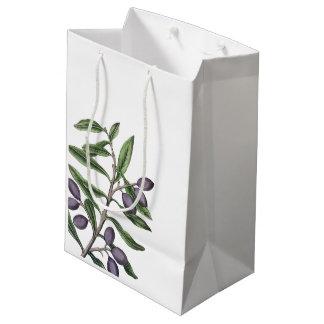 Olive Tree Branch | Green Purple Medium Gift Bag