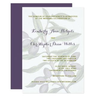 Olive Tree Branch Wedding | Green Purple Card
