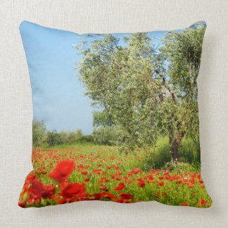 Olive tree in poppy field throw pillow