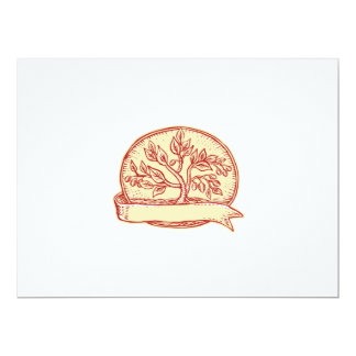 Olive Tree Ribbon Oval Etching 6.5x8.75 Paper Invitation Card