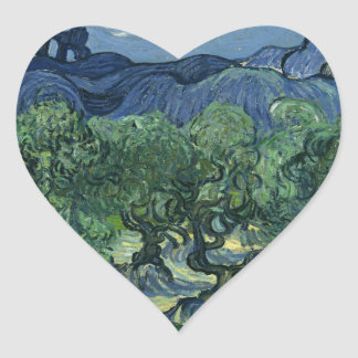 Olive Trees by Van Gogh Heart Sticker