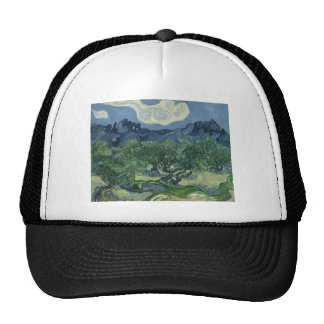 Olive Trees in a Mountainous Landscape Mesh Hats