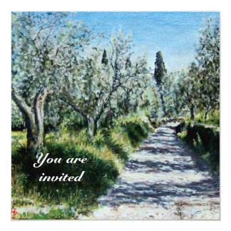 OLIVE TREES IN FLORENCE green blue white brown Custom Invitations
