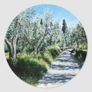 OLIVE TREES IN TUSCANY CLASSIC ROUND STICKER