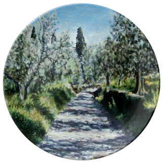 OLIVE TREES IN TUSCANY DINNER PLATE
