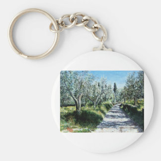 OLIVE TREES IN TUSCANY BASIC ROUND BUTTON KEYCHAIN