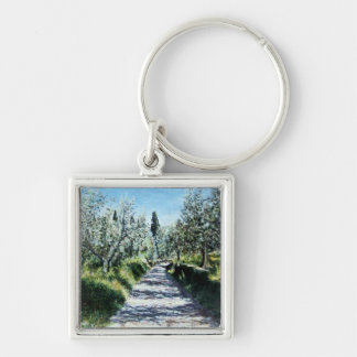 OLIVE TREES IN TUSCANY Silver-Colored SQUARE KEYCHAIN