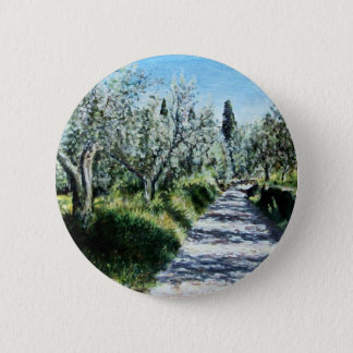 OLIVE TREES IN TUSCANY PINBACK BUTTON