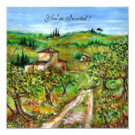 OLIVE TREES IN TUSCANY,yellow green white Custom Announcement
