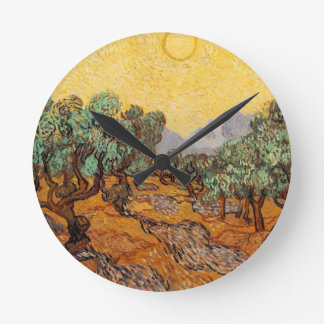 Olive-trees of Vincent Van Gogh (Olives trees) Round Clock