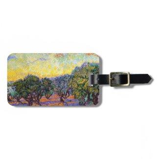 Olive Trees, Orange Sky Van Gogh Vincent Travel Bag Tag