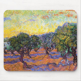 Olive Trees, Orange Sky  Van Gogh Vincent Mouse Pad