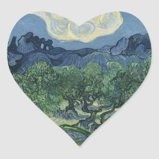 Olive Trees with the Alpilles in the Background Heart Sticker