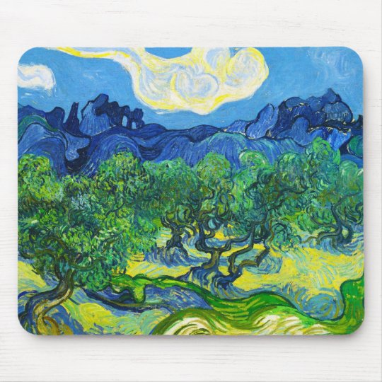 Olive Trees with the Alpilles in the Background Mouse Pad