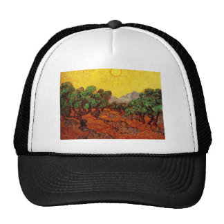 Olive Trees with Yellow Sky and Sun Hat