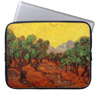 Olive Trees with Yellow Sky and Sun Computer Sleeves