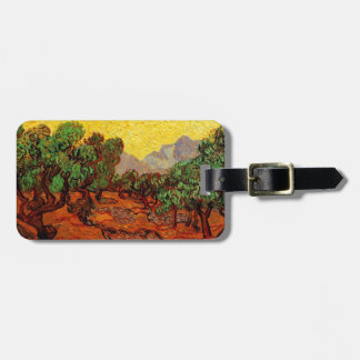 Olive Trees with Yellow Sky and Sun Luggage Tag