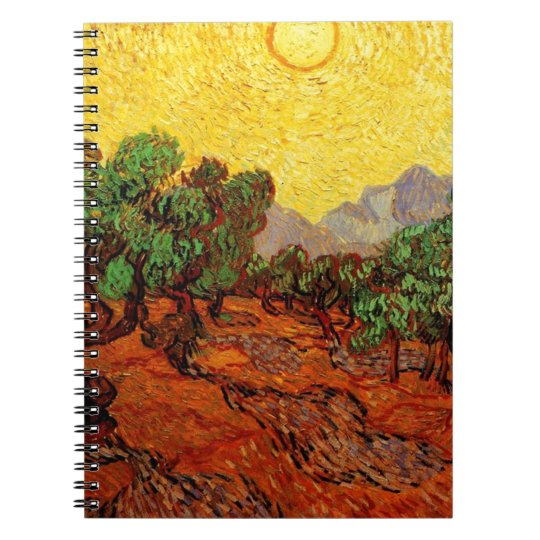 Olive Trees with Yellow Sky and Sun Notebook