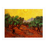 Olive Trees with Yellow Sky and Sun Post Card