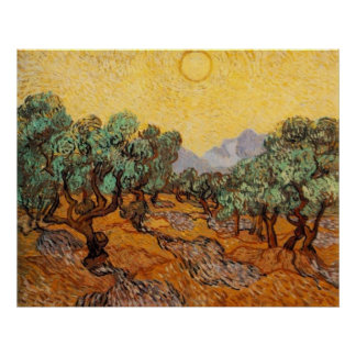 Olive Trees with Yellow Sky and Sun Print