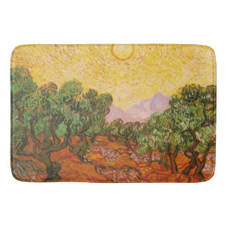 Olive Trees with Yellow Sky & Sun by Van Gogh Bathroom Mat